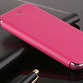 Classic Aluminum Support Holster Genuine Flip Leather Covers for iPhone 6 Plus 5.5 - Rose