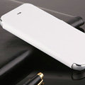 Classic Aluminum Support Holster Genuine Flip Leather Covers for iPhone 6 Plus 5.5 - White