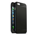 Classic Metal Bumper Frame Covers Genuine Leather Back Cases for iPhone 6 Plus 5.5 - Black