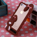 Cool Detonation Teeth Rabbit Covers Silicone Shell for iPhone 6 Plus 5.5 - Brown