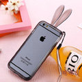 Cute Transparent Rabbit Covers Ears Silicone Cases for iPhone 6 Plus 5.5 - Black