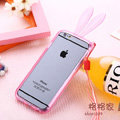 Cute Transparent Rabbit Covers Ears Silicone Cases for iPhone 6 Plus 5.5 - Pink