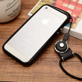 Fashion Lanyard Plastic Shell Hard Covers Back Cases Skin for iPhone 6 Plus 5.5 - Black