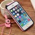 Fashion Lanyard Plastic Shell Hard Covers Back Cases Skin for iPhone 6 Plus 5.5 - Pink