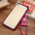 Fashion Lanyard Plastic Shell Hard Covers Back Cases Skin for iPhone 6 Plus 5.5 - Rose