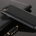 High Quality Aluminum Bumper Frame Covers Real Leather Back Cases for iPhone 6 Plus 5.5 - Black