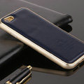 High Quality Aluminum Bumper Frame Covers Real Leather Back Cases for iPhone 6 Plus 5.5 - Blue
