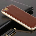 High Quality Aluminum Bumper Frame Covers Real Leather Back Cases for iPhone 6 Plus 5.5 - Brown