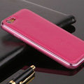 High Quality Aluminum Bumper Frame Covers Real Leather Back Cases for iPhone 6 Plus 5.5 - Rose