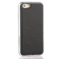 High Quality Aluminum Bumper Frame Covers Real Leather Back Shell for iPhone 6S - Black