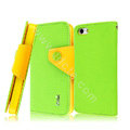 IMAK cross leather case Button holster holder cover for iPhone 6S - Green