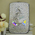 Luxury Bling Holster Covers Swan diamond Crystal Cases for iPhone 6S - White
