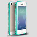 Quality Bling Aluminum Bumper Frame Cover Diamond Shell for iPhone 6S - Green