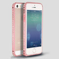 Quality Bling Aluminum Bumper Frame Cover Diamond Shell for iPhone 6S - Pink