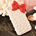 Bling Bowknot Crystal Cases Rhinestone Pearls Covers for iPhone 7 - Red