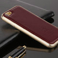 High Quality Aluminum Bumper Frame Covers Real Leather Back Cases for iPhone 7 - Claret