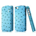 IMAK Ostrich Series leather Case holster Cover for iPhone 7 - Blue