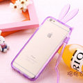 Cute Transparent Rabbit Covers Ears Silicone Cases for iPhone 6 4.7 - Purple