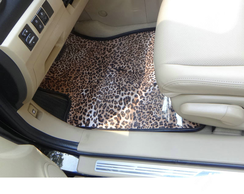 buy wholesale classic leopard print pvc custom auto carpet car floor mats 5pcs sets for mercedes. Black Bedroom Furniture Sets. Home Design Ideas