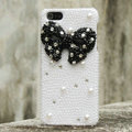 Bling Bowknot Rhinestone Crystal Cases Pearls Covers for iPhone 6S Plus - Black