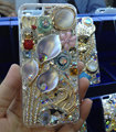 S-warovski crystal cases Bling Flower Swan diamond cover skin for iPhone 6S Plus - White