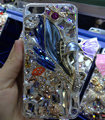 S-warovski crystal cases Bling Flowers diamond cover for iPhone 6S Plus - Blue