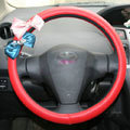 Bowknot Diamond PU Leather Car Steering Wheel Covers For Sale 15 inch 38CM - Red