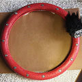 Bowknot Feather Diamond Genuine Leather Car Steering Wheel Covers 15 inch 38CM - Red