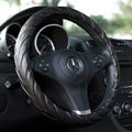 Calssic Man Genuine Lamb Leather Grip Auto Steering Wheel Covers 15 inch 38CM - Black