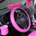 Calssic Rhomb Sheepskin Leather Car Steering Wheel Covers 15 inch 38CM - Rose