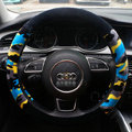 Calssic Winter Camo Plush Car Steering Wheel Covers 15 inch 38CM - Blue Black