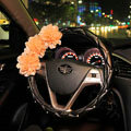 Champagne Flower Diamond Car Steering Wheel Covers Genuine Leather 15 inch 38CM - Black