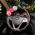 Color Rose Rhinestone Grip Steering Wheel Covers Female Genuine Leather 15 inch 38CM - Black