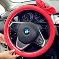 Cute Female Bowknot Suede Velvet Auto Steering Wheel Covers 15 inch 38CM - Red