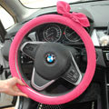 Cute Female Bowknot Suede Velvet Auto Steering Wheel Covers 15 inch 38CM - Rose