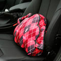 Diamond Lattice Cloud Short Plush Auto Support Pillow Car Lumbar Cushion 1pcs - Red