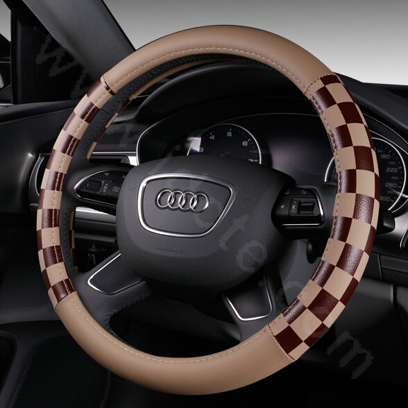 buy wholesale discount classic plaids pu leather car steering wheel covers 15 inch 38cm black. Black Bedroom Furniture Sets. Home Design Ideas