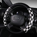 Discount Classic Plaids PU Leather Car Steering Wheel Covers 15 inch 38CM - Black White
