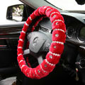 Elegant Female Pearls Diamond Genuine Wool Auto Steering Wheel Covers 15 inch 38CM - Red