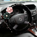 Elegant Flower Crystal Beaded Genuine Wool Auto Steering Wheel Covers 15 inch 38CM - Black