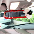 Fashion Female Pearl Lace Flower Genuine Sheepskin Car Rearview Mirror Elastic Covers - Red