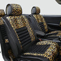 Fashion Leopard Print Female Universal Car Seat Cushion PU Leather Flocking 10pcs Set - Golden