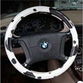 Fashion Milk Cow Print PVC Leather Auto Steering Wheel Covers 15 inch 38CM - Black White