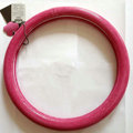 Fashion Women Genuine Leather Snake Skin Car Steering Wheel Covers 15 inch 38CM - Rose