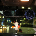Flower Diamond Genuine Sheepskin Car Rearview Mirror Elastic Covers Decoration - Blue