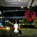 Flower Diamond Genuine Sheepskin Car Rearview Mirror Elastic Covers Decoration - Red