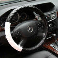 General Diamond Lattice Genuine Leather Grip Steering Wheel Covers 15 inch 38CM - Black White