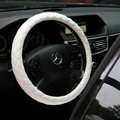 General Genuine Sheepskin Leather Grip Auto Steering Wheel Covers 15 inch 38CM - White