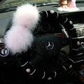 Genuine Wool With Rabbit Ball Fur Powder Crystal Auto Steering Wheel Covers 15 inch 38CM - Black