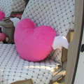 High Quality Heart Angel Plush Auto Lumbar Pillow Back Support Cushion 2pcs - Rose